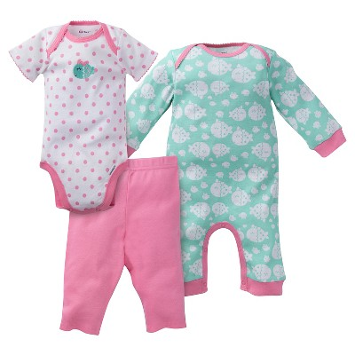 Gerber® Baby Girls' 3pc Fish Coverall Set - Mint/Pink 0-3M