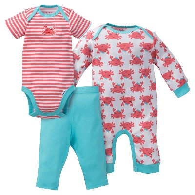 Gerber® Baby Girls' 3pc Crab Coverall Set Coral/Turquoise 0-3M
