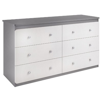 Cosco Willow Lake 6 Drawer Dresser - Light Slate Gray/White