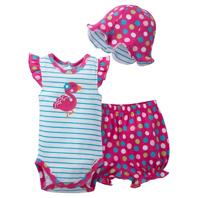 Gerber® Newborn Girls' 3 Piece Flamingo Bodysuit, Bloomer and Hat Set - 6-9M Teal/Pink
