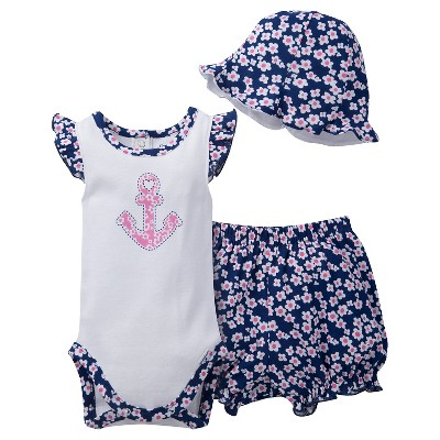 Gerber® Newborn Girls' 3 Piece Anchor Bodysuit, Bloomer and Hat Set - 3-6M White/Navy/Pink