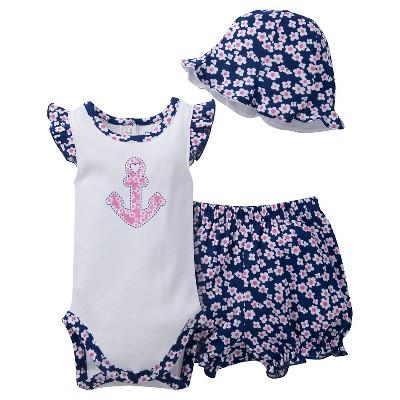 Gerber® Newborn Girls' 3 Piece Anchor Bodysuit, Bloomer and Hat Set - 6-9M White/Navy/Pink