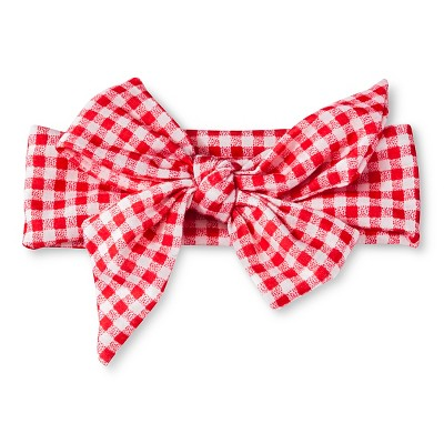 Toddler Girls' Gingham Check Bow Head Wrap Red OSFM - Cherokee®