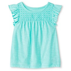 Toddler Girls Flutter Sleeve Eyelet Tee Green - Cherokee®