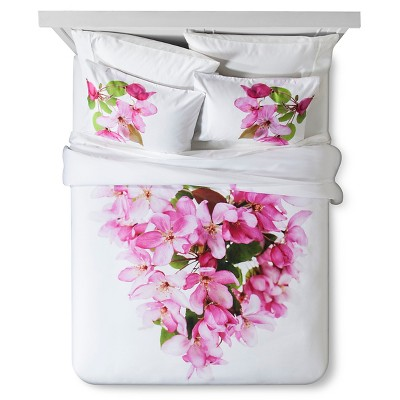 Cherry Blossom Print Duvet Set Queen White & Pink 3pc - Still by Mary Jo™