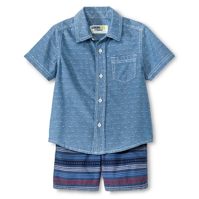 Baby Boys' Top And Bottom Set - Metallic Blue 12M - Genuine Kids™ from OshKosh®