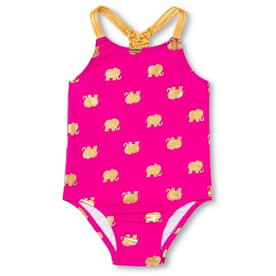 Baby Girls' Elephant One Piece Swimsuit Pink/Gold 18M - Circo™