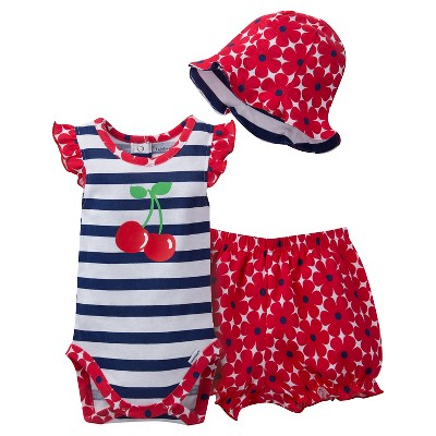Gerber® Newborn Girls' 3 Piece Cherries Bodysuit, Bloomer and Hat Set - 0-3M Navy/Red/White