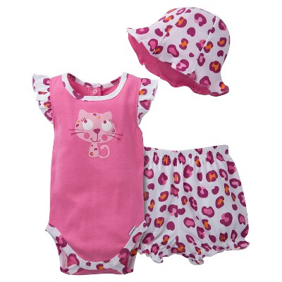Gerber® Newborn Girls' 3 Piece Kitty Bodysuit, Bloomer and Hat Set - 6-9M Pink/White