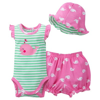 Gerber® Newborn Girls' 3 Piece Whale Bodysuit, Bloomer and Hat Set - 3-6M Lime Green/Pink