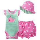 Gerber® Newborn Girls' 3 Piece Whale Bodysuit, Bloomer and Hat Set - Lime Green/Pink