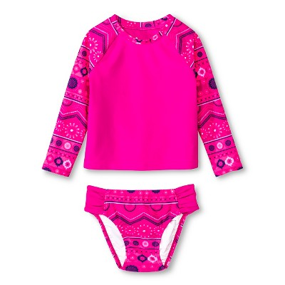 Toddler Girls' Tribal Print Long Sleeve Rash Guard Set Fandango Pink 2T - Circo™