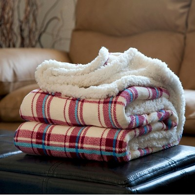 Yorkshire Home Fleece Sherpa Blanket Throw - Plaid