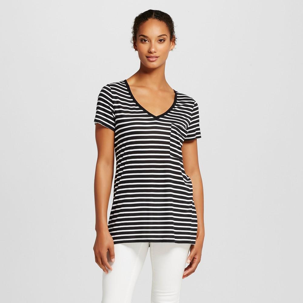 Women's V-Neck Tee with Pocket Black & White Stripe XL - Mossimo