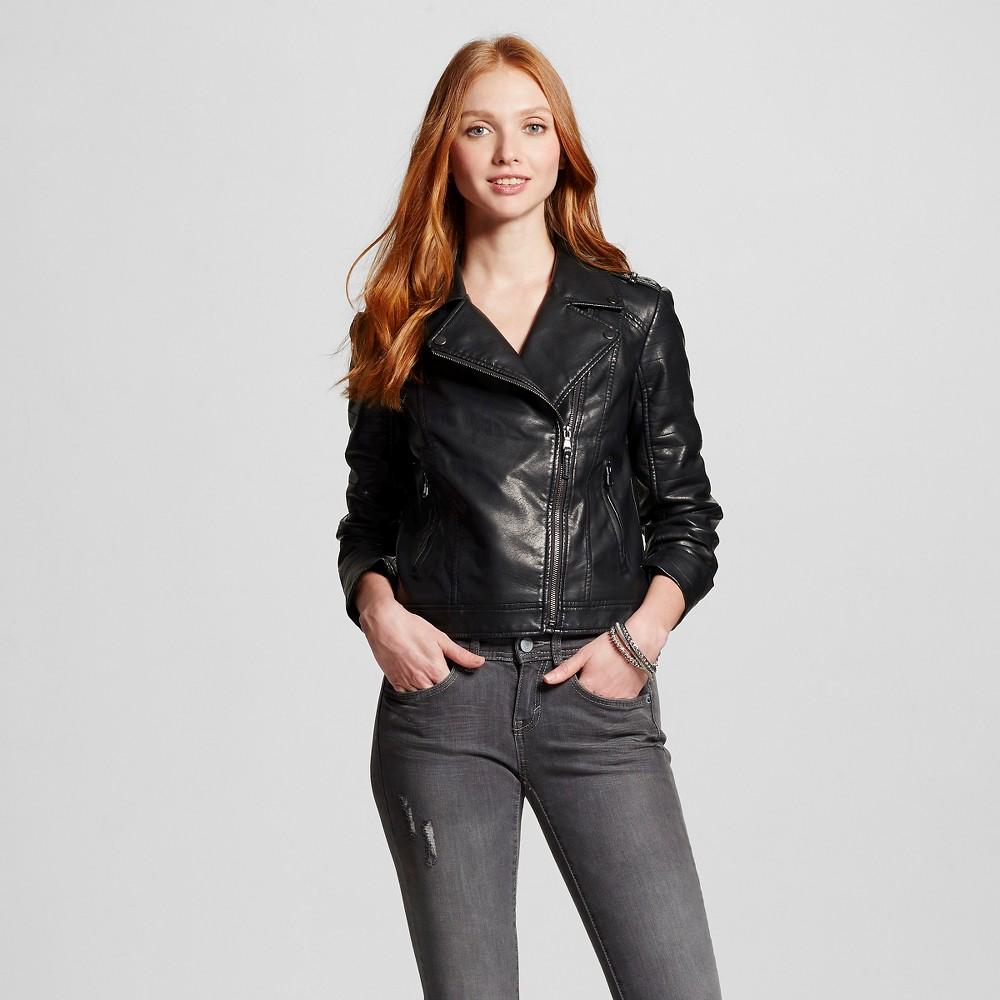 5cfefa235cf14 UPC 492830000822 product image for Women's Faux Leather Moto Jacket - Black  - S - Xhilaration