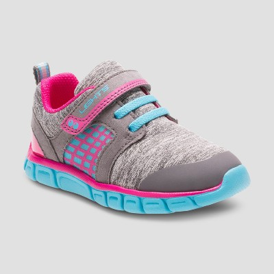 Toddler Girls' Surprize by Stride Rite Clarissa Light Up Sneakers - Grey/Blue 8