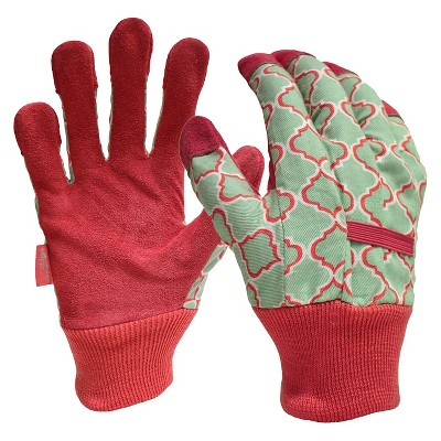 Digz Women's Leather Palm Gloves with Knit Wrist - Medium