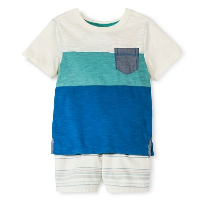 Baby Boys' T-Shirt and Short Set - Blue & White 12M - Genuine Kids™ from OshKosh®