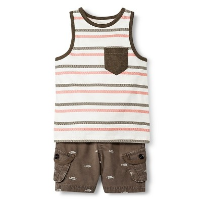 Baby Boys' Tank Top and Short Set - Brown & Shell 12M - Genuine Kids™ from OshKosh®