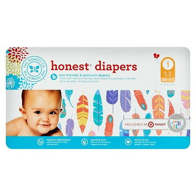 Honest Company Diapers Painted Feather - Size 1 (80 Count)