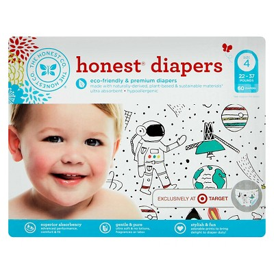 Honest Company Diapers Space Travel - Size 4 (60 Count)