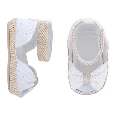 Baby Girls' Eyelet Espadrille Peeptoe Sandal White 4 - Circo™