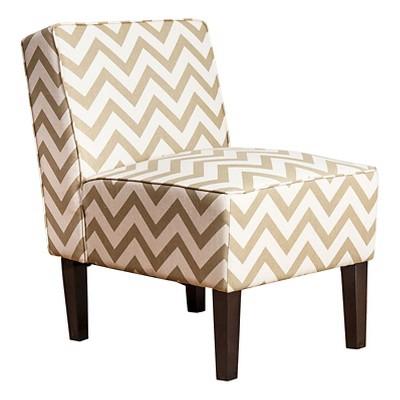 Sasha Chevron Fabric Slipper Chair - Gold