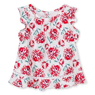 Baby Girls' Floral Ruffle Sleeve Blouse White 12M - Genuine Kids from Oshkosh™