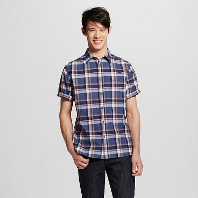Men's Short Sleeve Shirt Navy Plaid M - Mossimo Supply Co.