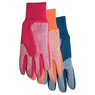 Ladies Jersey Canvas Plastic Dot Palm Glove 5-Pack - Large