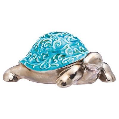 Turtle Ceramic Statuary Blue - Evergreen