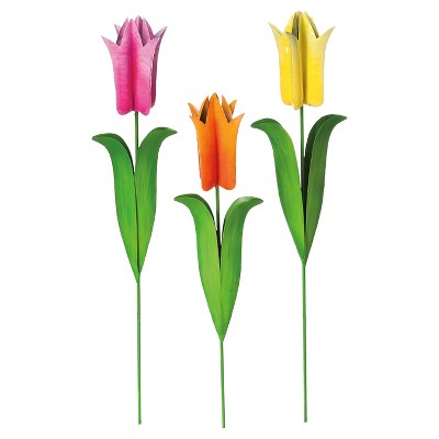 Tulip Metal Garden Flowers Set of 3 Multi-Colored - Evergreen