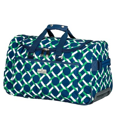 Happy Chic by Jonathan Adler Rolling Duffel Bag - Green/Navy Lattice
