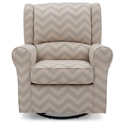 Delta Children Morgan Chevron Upholstered Glider - Gray Chevron