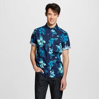 Men's Short Sleeve Shirt Blue Floral Print XXL - Mossimo Supply Co.