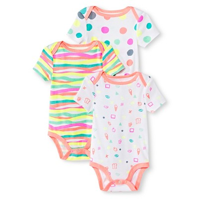 Oh Joy!® Newborn Girls' 3 Pack Bodysuit Set - White 6-9M