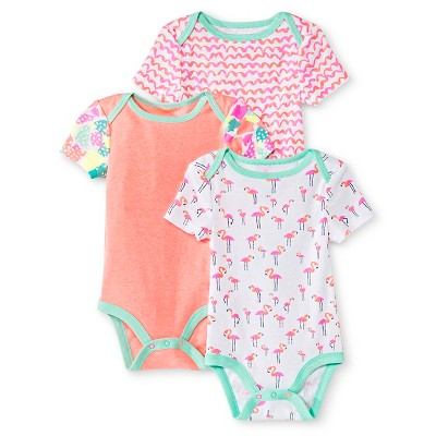 Oh Joy!® Newborn Girls' 3 Pack Bodysuit Set - Flamingo 0-3M