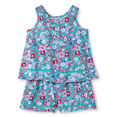 Baby Girls' Floral Challis Top and Short Set Navy Green 12M - Genuine Kids from Oshkosh™