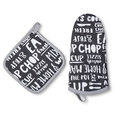 Kitchen Words Pot Holder Oven Mitt Black (Set of 2) - Room Essentials™