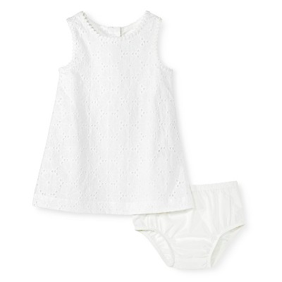 Baby Girls' Eyelet Dress White 12M - Genuine Kids from Oshkosh™
