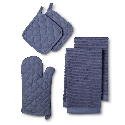 Kitchen Essentials Pack with Oven Mitt Blue (2 Pot Holders 2 Kitchen Towels) - Room Essentials™
