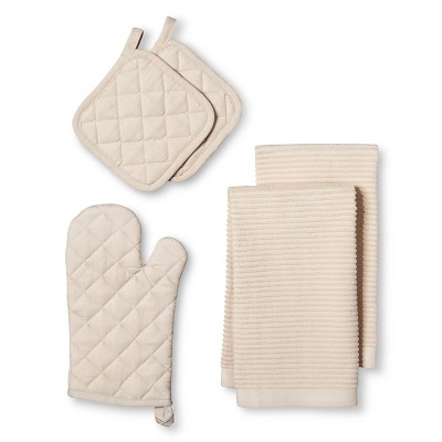 Kitchen Essentials Pack with Oven Mitt Tan (2 Pot Holders 2 Kitchen Towels) - Room Essentials™