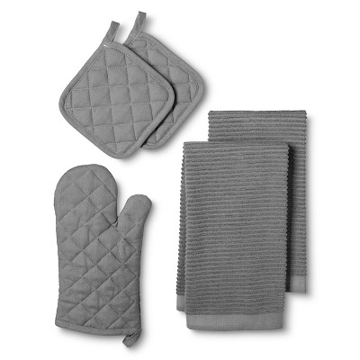 Kitchen Essentials Pack with Oven Mitt Gray (2 Pot Holders 2 Kitchen Towels) - Room Essentials™