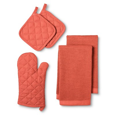 Kitchen Essentials Pack with Oven Mitt Orange (2 Pot Holders 2 Kitchen Towels) - Room Essentials™