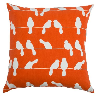 Rizzy Home Orange and White Birds On A Wire Throw Pillow (20 x 20)