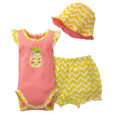 Gerber® Newborn Girls' 3 Piece Pineapple Bodysuit, Bloomer and Hat Set - 0-3M Salmon/Yellow