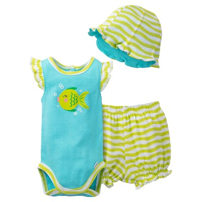 Gerber® Newborn Girls' 3 Piece Fish Bodysuit, Bloomer and Hat Set - 0-3M Mint/Lime Green