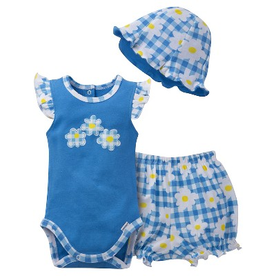 Gerber® Newborn Girls' 3 Piece Daisies Bodysuit, Bloomer and Hat Set - 6-9M Blue/White/Yellow