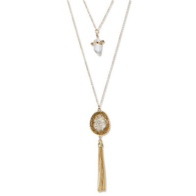 "Women's Natasha Accessories Imitation Gold  Two Tier Necklace with Stone and Chain Tassel - Gold/Crystal (16"")"