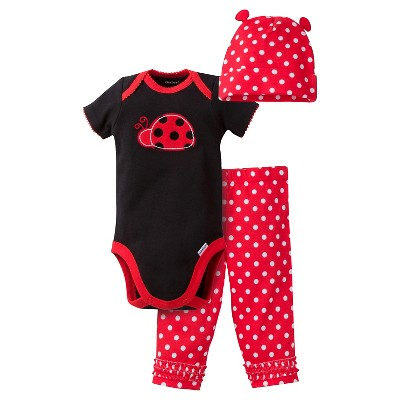 Gerber® Baby Girls' 3pc Ladybug Set 0-3M